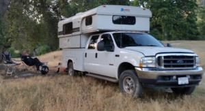 Enjoying dispersed camping in our Alaskan truck camper