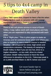 Handy tips for 4x4 camping in Death Valley