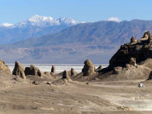 Snow on Telescope Peak viewed from Trona Pinnacles